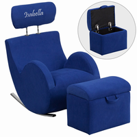 Flash Furniture Personalized HERCULES Series Blue Fabric Rocking Chair with Storage Ottoman