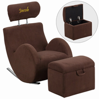 Flash Furniture Personalized HERCULES Series Brown Fabric Rocking Chair with Storage Ottoman