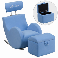 Flash Furniture Personalized HERCULES Series Light Blue Fabric Rocking Chair with Storage Ottoman