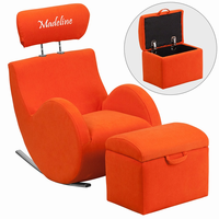 Flash Furniture Personalized HERCULES Series Orange Fabric Rocking Chair with Storage Ottoman