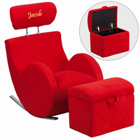 Flash Furniture Personalized HERCULES Series Red Fabric Rocking Chair with Storage Ottoman