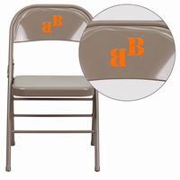 Flash Furniture Personalized HERCULES Series Triple Braced & Double Hinged Beige Metal Folding Chair