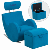 Flash Furniture Personalized HERCULES Series Turquoise Blue Fabric Rocking Chair with Storage Ottoman