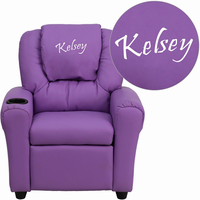 Flash Furniture Personalized Lavender Vinyl Kids Recliner with Cup Holder and Headrest