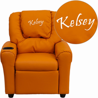 Flash Furniture Personalized Orange Vinyl Kids Recliner with Cup Holder and Headrest