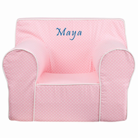 Flash Furniture Personalized Oversized Light Pink Dot Kids Chair with White Piping