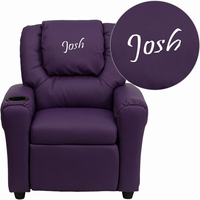 Flash Furniture Personalized Purple Vinyl Kids Recliner with Cup Holder and Headrest