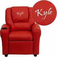 Flash Furniture Personalized Red Vinyl Kids Recliner with Cup Holder and Headrest