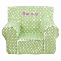 Flash Furniture Personalized Small Green Dot Kids Chair with White Piping