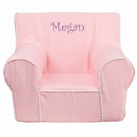 Flash Furniture Personalized Small Light Pink Dot Kids Chair with White Piping
