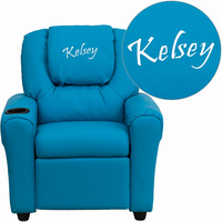 Flash Furniture Personalized Turquoise Vinyl Kids Recliner with Cup Holder and Headrest