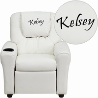 Flash Furniture Personalized White Vinyl Kids Recliner with Cup Holder and Headrest