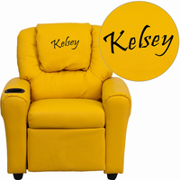 Flash Furniture Personalized Yellow Vinyl Kids Recliner with Cup Holder and Headrest