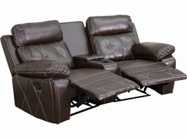 Flash Furniture Reel Comfort Series 2-Seat Reclining Brown Leather Theater Seating Unit with Curved Cup Holders