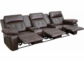 Flash Furniture Reel Comfort Series 3-Seat Reclining Brown Leather Theater Seating Unit with Straight Cup Holders