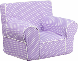Flash Furniture Small Lavender Dot Kids Chair with White Piping