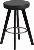Flash Furniture Trenton Series 24'' High Contemporary Black Vinyl Counter Height Stool with Cappuccino Wood Frame