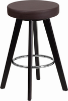 Flash Furniture Trenton Series 24'' High Contemporary Brown Vinyl Counter Height Stool with Cappuccino Wood Frame