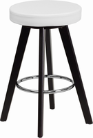 Flash Furniture Trenton Series 24'' High Contemporary White Vinyl Counter Height Stool with Cappuccino Wood Frame