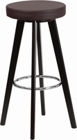 Flash Furniture Trenton Series 29'' High Contemporary Brown Vinyl Barstool with Cappuccino Wood Frame