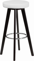 Flash Furniture Trenton Series 29'' High Contemporary White Vinyl Barstool with Cappuccino Wood Frame