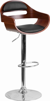 Flash Furniture Walnut Bentwood Adjustable Height Barstool with Black Vinyl Seat and Cutout Padded Back