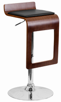 Flash Furniture Walnut Bentwood Adjustable Height Barstool with Black Vinyl Seat and Drop Frame