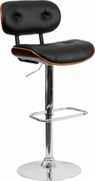 Flash Furniture Walnut Bentwood Adjustable Height Barstool with Button Tufted Black Vinyl Upholstery