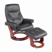 Fremont Top Grain Leather/Vinyl Match, Black, Swivel Recliner Chair & Ottoman