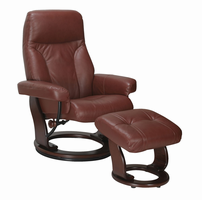 Fremont Top Grain Leather/Vinyl Match, Cognac, Swivel Recliner Chair & Ottoman