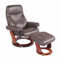 Fremont Top Grain Leather/Vinyl Match, Kona Brown, Swivel Recliner Chair & Ottoman