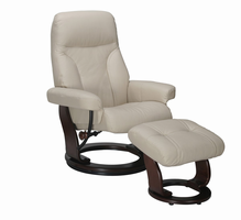 Fremont Top Grain Leather/Vinyl Match, Taupe, Swivel Recliner Chair & Ottoman