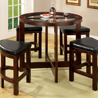 Furniture of America FOA-CM3321PT-5PK Crystal Cove I Contemporary 5 Pc. Glass-Insert Round Counter Ht. Table Set