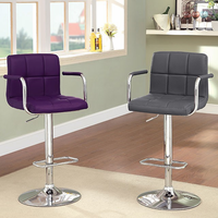 Furniture of America FOA-CM-BR6917PR Corfu Contemporary Bar Stool, Purple