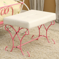 Furniture of America FOA-CM7705BN Enchant Novelty Bench, Pink & White