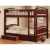 Furniture of America FOA-CM-BK600CH-BED California I Cottage Twin/twin Bunk Bed w/ 2 Drawers, Cherry Finish