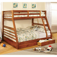 Furniture of America FOA-CM-BK588A-BED California Iii Transitional Twin/full Bunk Bed w/ 2 Drawers, Oak Finish