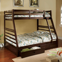 Furniture of America FOA-CM-BK588EX-BED California Iii Transitional Twin/full Bunk Bed w/ 2 Drawers, Dark Walnut
