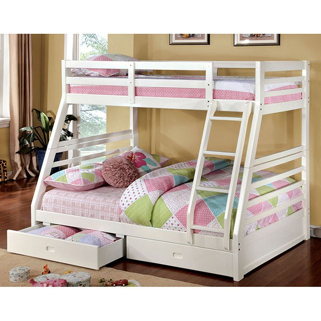 Furniture Of America Foa Cm Bk588wh Bed California Iii Transitional Twin Full Bunk W 2 Drawers White
