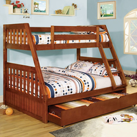 Furniture of America FOA-CM-BK605A-BED Canberra Cottage Twin/full Bunk Bed, Oak Finish