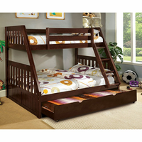 Furniture of America FOA-CM-BK605EX-BED Canberra Cottage Twin/full Bunk Bed, Dark Walnut Finish