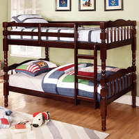Furniture of America FOA-CM-BK606EX-BED Catalina Cottage Twin/twin Bunk Bed, Dark Walnut Finish