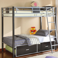 Furniture of America FOA-CM-BK1012 Cletis Contemporary Twin/full Bunk Bed