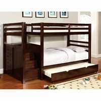 Furniture of America FOA-CM-BK966F-BED Pine Ridge Transitional Twin/full Bunk Bed w/ Steps & Drawers
