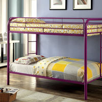 Furniture of America FOA-CM-BK1032-PR Rainbow Contemporary Metal Twin/twin Bunk Bed