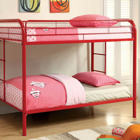 Furniture of America FOA-CM-BK1032-RD Rainbow Contemporary Twin/twin Bunk Bed, Red