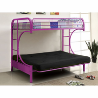 Furniture of America FOA-CM-BK1034-PR-BED Rainbow Contemporary Metal Twin/futon Bunk Bed