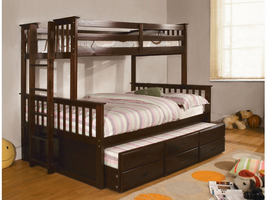 Furniture of America FOA-CM-BK458F-EXP-BED University I Cottage Twin/full Bunk Bed, Dark Walnut Finish