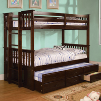 Furniture of America FOA-CM-BK458T-EXP-BED University Ii Cottage Twin/twin Bunk Bed, Dark Walnut Finish