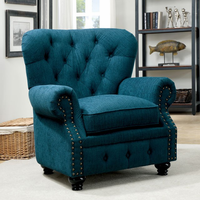 Furniture of America FOA-CM6269TL-CH Stanford Traditional Chair, Dark Teal